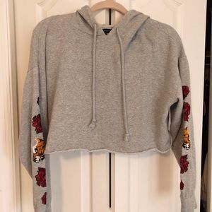 PACSUN GRAY CROPPED HOODIE